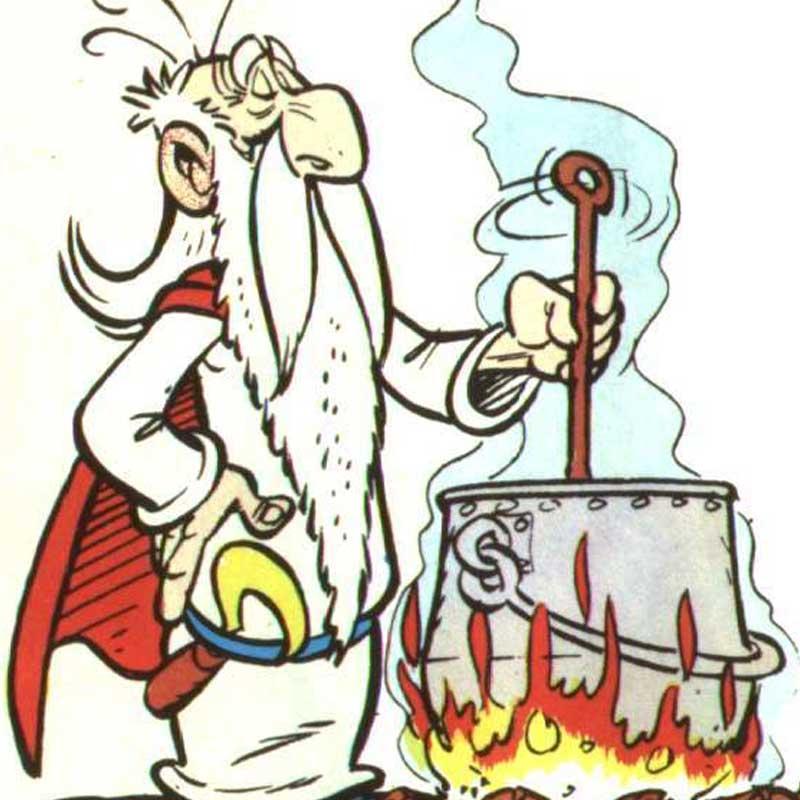 গেটাফিক্সনা। ইনি মোটেও তথাকথিত শিক্ষকের লিস্টে পড়েন না। তবে অপরাজিত ছোট্ট গল গ্রামের গোঁয়াড় গোবিন্দ মারকুটে বাসিন্দাদের সব রকম শিক্ষার পথ একমাত্র এই লম্বা সাদা দাঁড়ির পুরোহিত। জাদু পানীয় তৈরির সঙ্গে সঙ্গে গ্রামের পুঁচকে পুঁচকে ছানাদেরও অক্ষরজ্ঞান ঘটে তাঁর হাত ধরেই।
