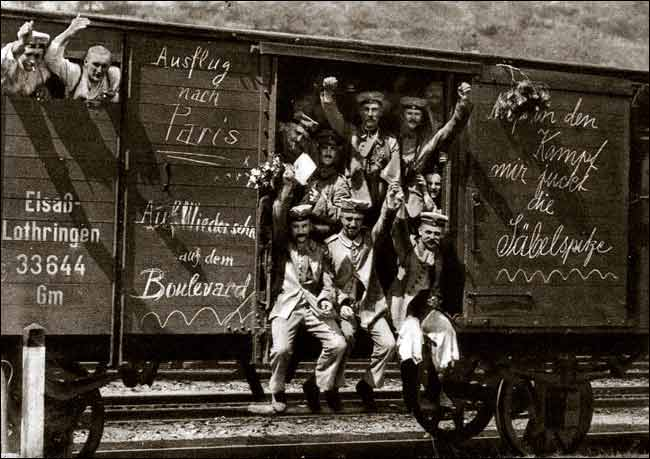German soldiers in a railroad car on the way to the front during early World War I, taken in 1914 (Wiki)