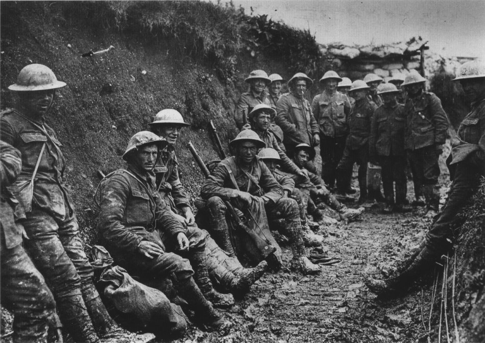 Royal Irish Rifles in a communications trench, first day on the Somme, 1916. (Wiki)