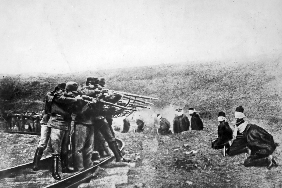 Austro-Hungarian troops executing captured Serbians, 1917. Serbia lost about 850,000 people during the war, a quarter of its pre-war population (Wiki)