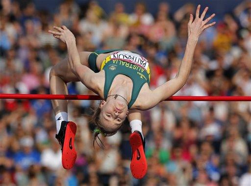 Eleanor Patterson of Australia jumps during the women's high jump final at Hampden Park Stadium