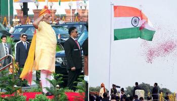 ৭১তম স্বাধীনতা দিবসে জাতীয় পতাকা উত্তোলনে প্রধানমন্ত্রী মোদী