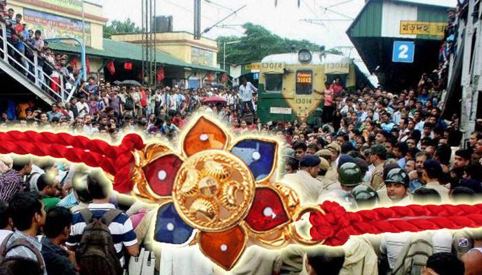 মাতৃভূমি নিয়ে দাদাগিরি-দিদিগিরি নয়, রাখি বেঁধে গান্ধীগিরিতে মহিলা যাত্রীরা