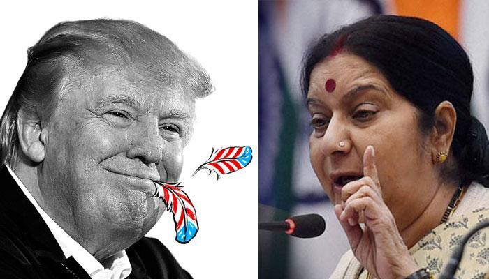 'টাকার জন্য প্যারিস জলবায়ু চুক্তি স্বাক্ষর করেনি ভারত', ট্রাম্পকে একহাত সুষমার