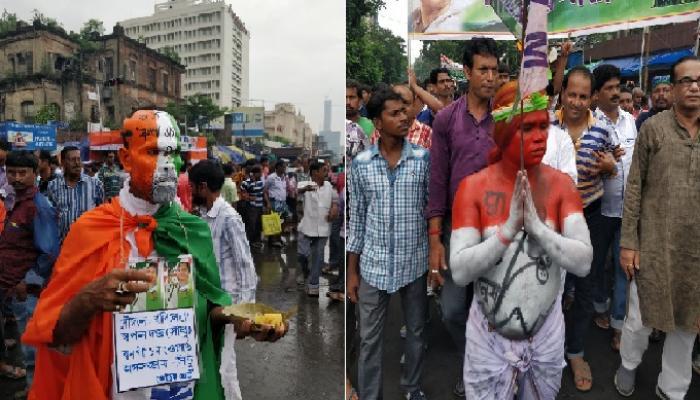 কপালজুড়ে বঙ্গভঙ্গের প্রতিবাদ... ২১ জুলাইয়ের এক অন্য উদযাপন দেখল শহর