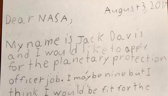 'প্ল্যানেটরি প্রোটেকশন অফিসার' হতে চায় ৯ বছরের 'অ্যালিয়েন' জ্যাক! উত্তর দিল NASA